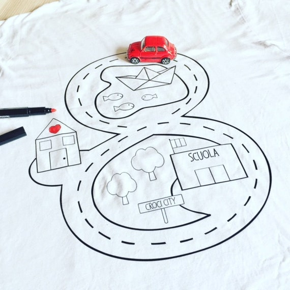 Famoso T-shirt pista macchinine FESTA DEL PAPA' idea regalo da UF12