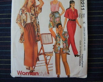 1990s sewing pattern McCalls 2211 Woman's shirt top pull on pants or shorts and pull on skirt  UNCUT size 28W, 30W, 32W, 46, 48, 50