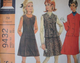vintage 1960s McCall's sewing pattern 9432 misses jumper dress and jacket in two versions size 10