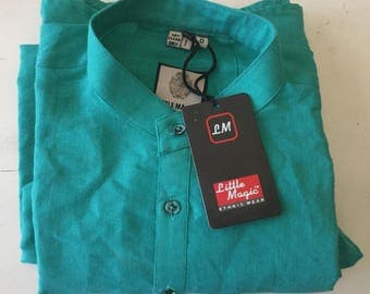 Teal Kurta Shirt -full sleeves/ Never Worn/ Made in India/ Shurti Clothing