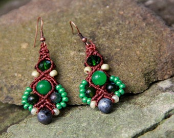Macrame beaded earrings brown green