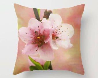 Peach Blossom 3, Throw Pillow, Decorative Pillow, Flower Pillow, Floral Pillow, Garden, Photography, Botanical, Fine Art Photography, Nature