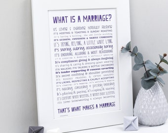 Wedding Gift For Father Remarrying : Wedding Gift - What Is A Marriage? Typographic Poem Print - Wedding ...
