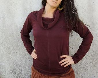 Burgundy cowl neck top ~ Long sleeve ~ Lycra shirt ~ Boho ~ Natural clothing ~ Elfnfelt
