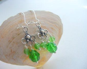 Kelly Green, Emerald Green Round Glass Earrings, Silver Long Dangle, Jewelry, Birthday Gift, Saint Patrick's Day, Irish, Holidays