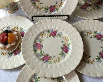 Set of 6 English Tea Plates Finsbury Pattern Soho Pottery Soluan Ware