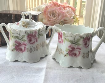 Antique Bavaria Sugar Bowl and Creamer Set late 1800s ZS and Co Big Pink  Roses Shabby Chic