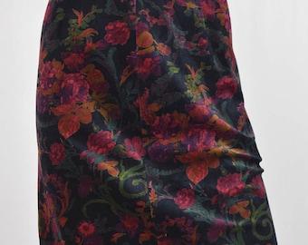 1980's Floral Printed Mini Skirt