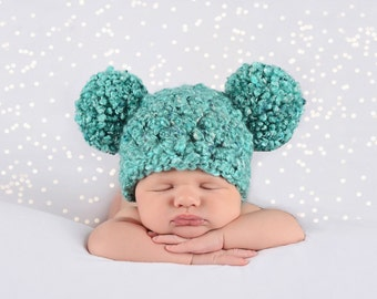 Pom Pom Baby Hat Teal Baby Hat Newborn Baby Girl Hat Newborn Baby Boy Hat Newborn Hat Newborn Girl Hat Newborn Boy Hat Baby Photo Prop
