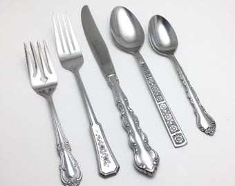 Vintage Mismatched Fancy Stainless Flatware 66 piece set - 5 pc. Service for 12 + extras