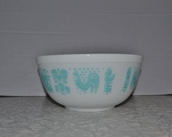 Pyrex Amish Butterprint Mixing Bowl ~ Pyrex 403 ~ White Turquoise Bowl ~ Vintage Kitchen ~  Epsteam