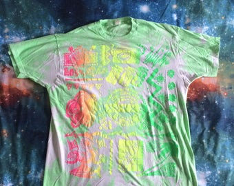 Vintage Tie Dyed Tribal Design Over Sized T-Shirt