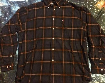 Vintage Thick Flannel Tommy Hilfiger Over Sized 90's Button Up Shirt