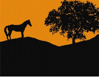 Needlepoint Kit or Canvas: Horse Tree Silhouette
