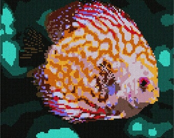 Needlepoint Kit or Canvas: Discus Fish