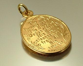 Vintage antique Edwardian 1900s, ALL Art Nouveau Christian religious, gilt metal, Bible verse, Biblical charm pendant - jewellery jewelry
