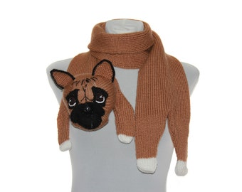 French bulldog / Knitted Scarf / Pet Scarf /  Dog scarf / knited dog scarf / animal scarf / Dog Breed Scarf / custom pet portrait