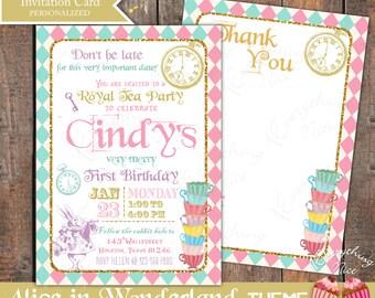 Tea Party Alice in Wonderland Theme Birthday Invitation Card