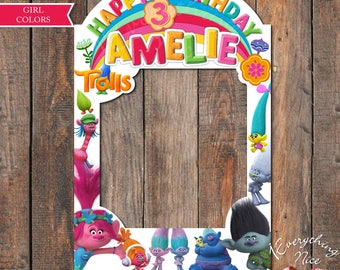 "Trolls Theme Birthday 24""x36"" DIGITAL Photo Booth Frame, Girl Colors Digital Download"