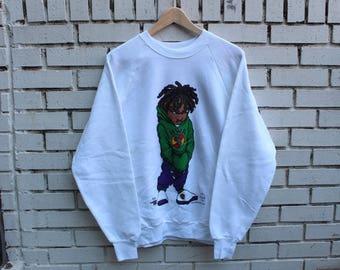 Deadstock BLACK STAFF Crewneck Sweatshirt Size L Large Vintage Mr K Sportswear Black Power Civil Rights Malcolm X BWA