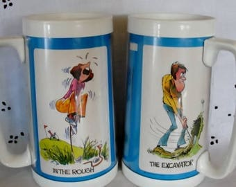 Thermo-Serve Golf Themed His and Her Mugs Golf Cartoon Drink Cups Humorous Golf Gift Idea