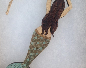 Hand Painted Engraved Mermaid Ornament