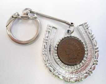 1 Silverplated Horseshoe Key Ring with Indian Head Penny