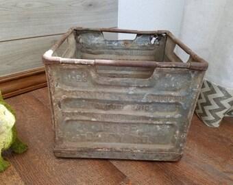 Vintage Rusty Metal Dairy Milk Crate Garden Planter