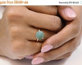 CYBER MONDAY SALE -  aquamarine ring,rose gold ring,14k rose gold filled ring,march birthstone ring,semiprecious ring,round cocktail ring