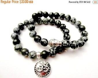 SALE Mala Bracelet Set. Stacked Bracelets. Buddha Bracelet. Om Charm Bracelet. Boho Bracelet Set. Snowflake Obsidian Stone.