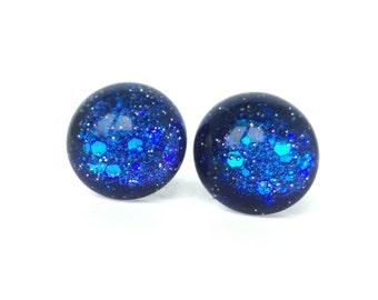 Navy stud earrings - Gifts for her - Galaxy earrings - Glass earrings - Blue stud earrings - Gifts for teen girls - Funky earrings
