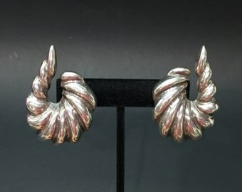 Vintage Mid Century Modernist Sterling 925 Silver Mexico Clip Earrings Large Statement Piece Taxco TA97 Marked - Retro Boho Tribal Ethnic