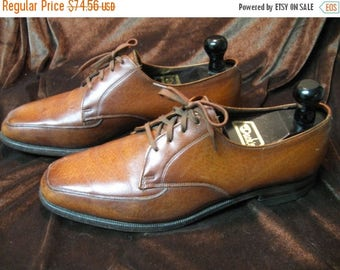 SALE Vintage John McHale Exotic Leather Light Burnished Whisky BrownDerby,Goodyear welt leather soles, US Size 9 D, Made in Canada