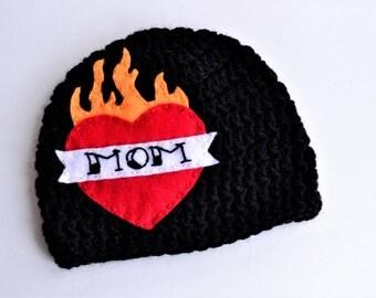 I Love Mom Hat, Mom Tattoo Hat, Tattoo Heart Hat, Mom Hat, Biker Hat, Punk Baby, Valentines Day Gift, Gift For Him, Baby Shower Gift,