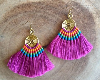 Fuschia Tassel Fan Earrings Festival Tassel Earrings Tassle Earings BOHO Chic Earrings Gypsy Tassle Jewelry Trending Now Wholesale Jewelry