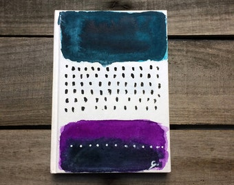 Rain themed hand painted notepad in blue & purple, hard cover notebook, unique diary