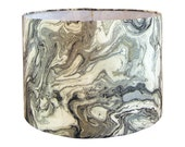 Custom Lamp Shade - Metallic Lamp Shade - Marbled Lampshade - Duralee Marbleized in Metal - Fabric Lamp Shades - Black Grey Lampshades