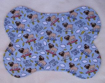 California Pugs Dog Bowl Feeding Placemat  Skateboards, Large Dog Bowl Mat, Pet Bowl Place Mat, Pug Picture, Skateboard Paw Prints