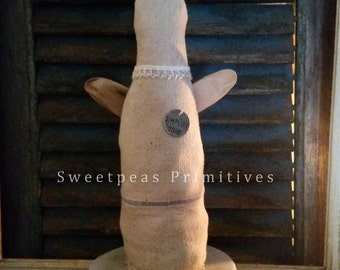 Primitive Early Vintage Style Folk Art Rustic Farmhouse Decor Angel Art Doll Antique Feed Sack Driftwood Wings ~ Sweetpeas Primitives
