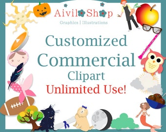 Customized Commercial Use Clipart Unlimited Use!! SERVICE