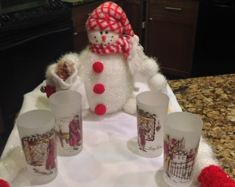 A Christmas Carol Vintage Frosted Tumblers by Federal Glass