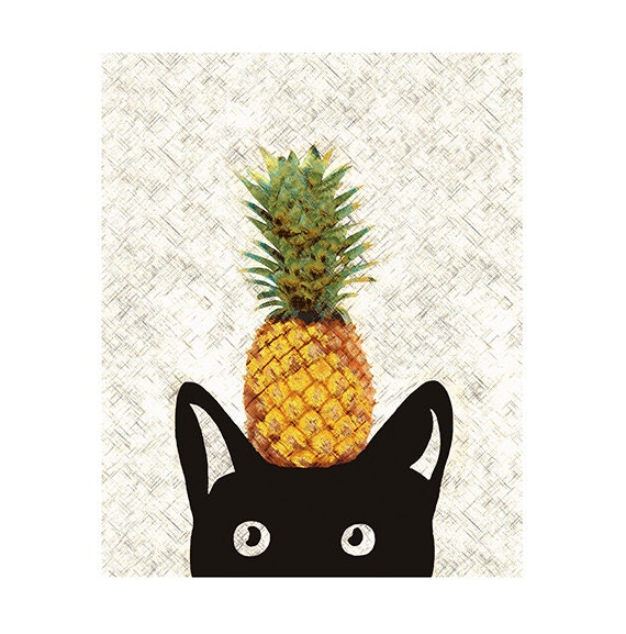 Pineapple Print, Cat Art Print, Black Cat Illustration, Summer Print, Ananas Print, Home Decor, Wall Hanging, Modern Wall Art 8x10in