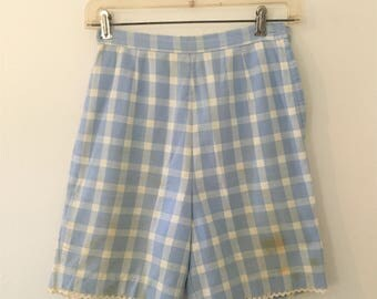 Vintage 1960s Petti Blue and White Checkered Shorts   1960s High Waist Mod Shorts   Needs TLC