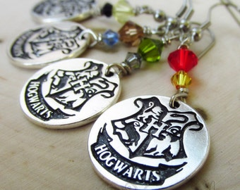 Harry Potter Hogwarts Earrings With Swarovski Cyrstal Accents
