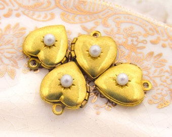 Vintage Brass Heart Lockets with Swarovski Ivory Pearl - 4