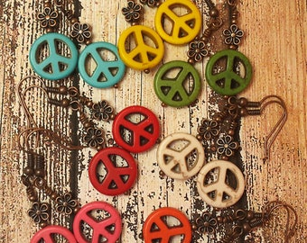 Peace Charm Symbol Sign Earrings, Copper Flower, Nature Inspired Bohemian, Choice of Color