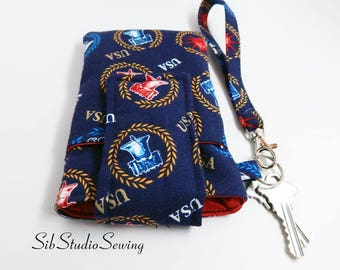 "USA Smartphone Wristlet, Fits iPhone 6, 7, Smartphone up to 5.75"" x 3.5"", Key Ring, Pocket, Patriotic Phone Wristlet, America Cell Clutch"