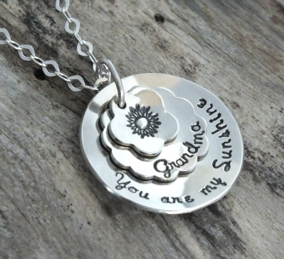 You are my Sunshine Necklace |Hand Stamped Personalized Sterling Silver | You are my sunshine Jewelry