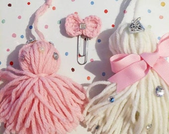 COTTON CANDY TASSELS Set of 3 Blingy Pink and White Tassels and Paper Clip Planner Organizer