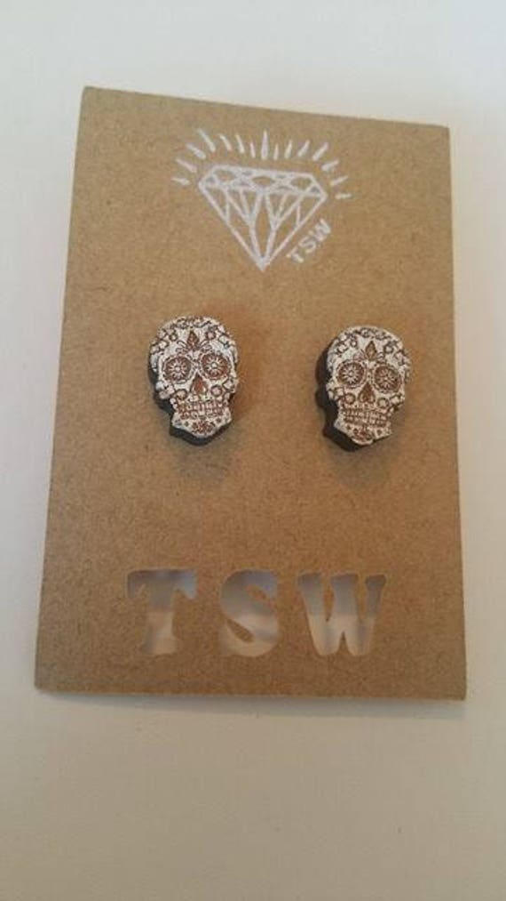 Geometric Calavera Skulls Wood  Laser cut and Laser Engraved Stud Earrings